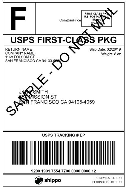 Usps Return Label >> Usps Shipping Label Examples Shippo