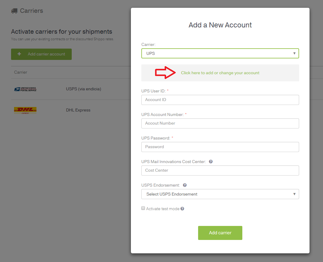 How to connect your ups account with shippo shippo select ups from the drop down list click the green click here to add a new account link platinumwayz
